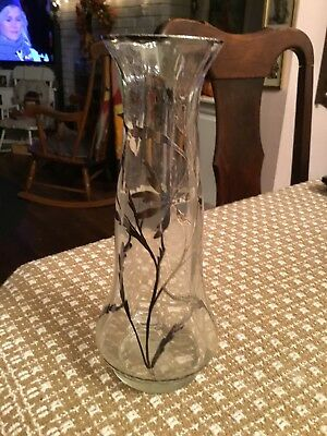Beautiful Antique Art Nouveau Clear Glass Vase w Sterling Silver Overlay