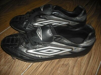 Mens Uk Size 10 (Eu 44.5) Black Metal Studded Umbro Rugby Boots