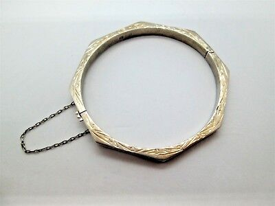 Fine Vintage Solid Silver Hexagon Hinged Engraved Bangle Not Scrap 10.3g