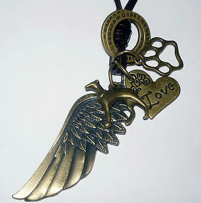 Memory Necklace with Bronze Greyhound Dog Charm, Bronze Angel Wing