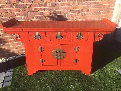 Beautiful Red Lacquered Chinese Elm Altar Cabinet /  Sideboard.