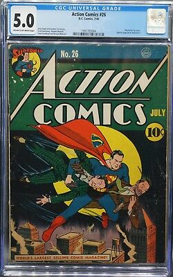 Action Comics #26 July 1940 - CGC 5.0 VG/F Cream to Off-White - Ad for Batman #1