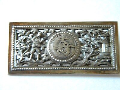 Sterling Silver Asian Brooch.. Gold Vermile..Estate Fresh..Ornate / Reticulated