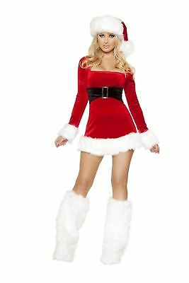 Santa's Saint Claus Christmas Red White Dress Holiday Costume 1pc Set ADULT