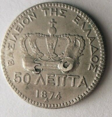 1874 GREECE 50 LEPTA - RARE EARLY DATE - Excellent Silver Coin - Lot #N11