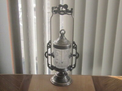 Tall Antique Silver Plate Pickle Castor Glass Insert Aesthetic Reed & Barton EX!