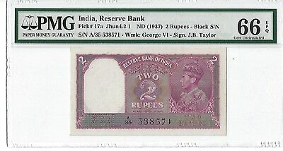 India 1937 2 Rupees, Pick# 17a, PMG Gem Uncirculated 66, Without Staple Holes!