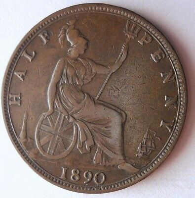 1890 GREAT BRITAIN 1/2 PENNY - Excellent Coin - RARE + VALUE Coin - Lot #N11
