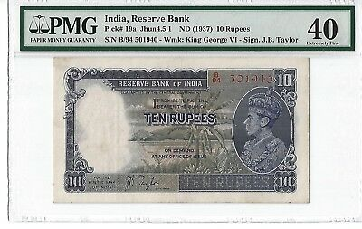 India 1937 10 Rupees, Pick# 19a, PMG Extremely Fine 40