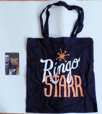 "RINGO STARR 2016 VIP TOTE BAG COTTON 14"" x 15"" & Laminated Card BEATLES"