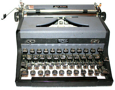 "1948 Tutone And Chrome Royal Quiet Deluxe Portable Typewriter ""hemingway"" Model"