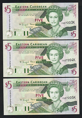 EAST CARIBBEAN STATES - St Kitts P-31k. (1994) 5 Dollars..  UNC - CONSEC Trio