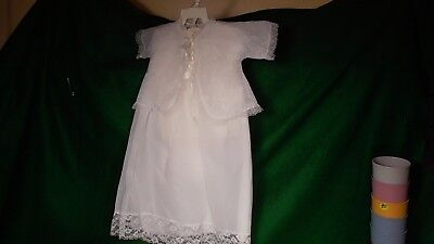Vintage Christening Gown, White with jacket & matching bonnet