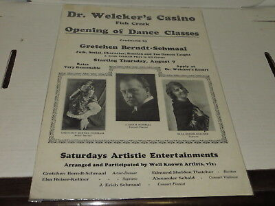 # Vtg Dr. Welcker's Casino Dance Classes Poster Ad - Gretchen Berndt Schmaal #