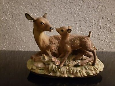 Collectible Vintage 1979 master porcelain by homco Deer Fawn and Doe Figure