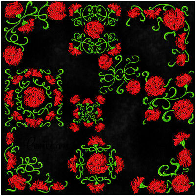 Carnation 10 Machine Embroidery Designs Cd 3 Sizes Included