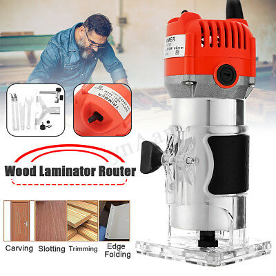 "800W 0.25"" 30000RPM Electric Hand Trimmer Wood Laminate Palm Router Joiners"