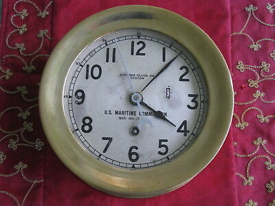 Chelsea Vintage Brass US Maritime Commission 8-Day Marine Ships Clock
