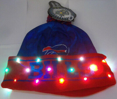 ced80233141 Buffalo Bills NAME NFL LED Light Up Hat Winter Pom Beanie Stocking Knit Cap