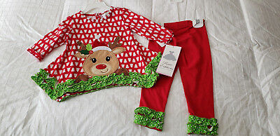 NWT Rare Editions  Toddler Girl's   Reindeer Outfit  Sz. 12 months NEW