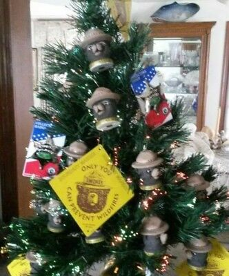 4  Smokey Bear  CHRISTMAS OF  2018 ORNAMENTS.Made With Sterling  Silver Rigging.