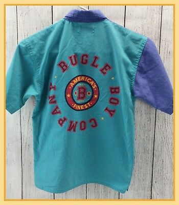 🔴90's Vintage Boys Bugle Boy Short Sleeve Button Down Colored Shirt Size XS (7)