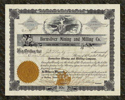 1906 IDAHO Hornsilver Mining & Milling Co. Stock Certificate PLACER CENTER DIST