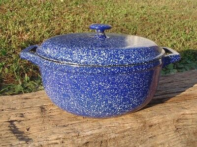Vintage LL BEAN White Speckled Cobalt Enameled Cast Iron 4.5 QT DUTCH OVEN POT