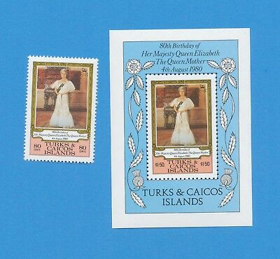 TURKS and CAICOS - scott  440-441 - VFMNH -  Queen Mother 80th - 1980