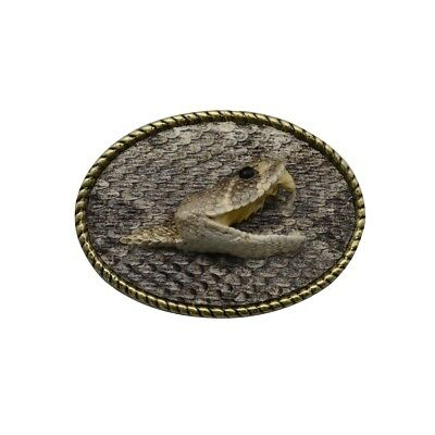 Eastern Diamondback Rattlesnake Head Hook&Loop Men's Belt Buckle Real Taxidermy
