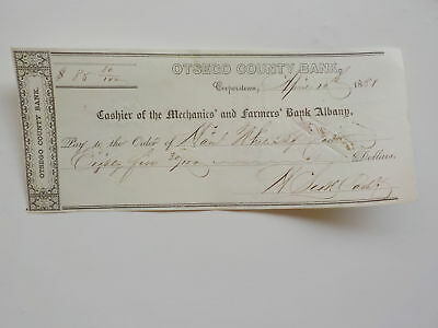 Antique Check 1800s Cashier Of The Mechanics' and Farmers' Bank Albany New York