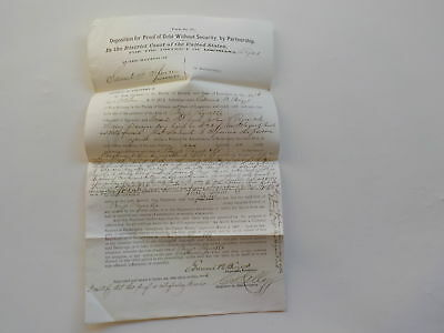 Antique Document 1873 In Bankruptcy New Orleans Louisiana Texas Paper VTG USA NR