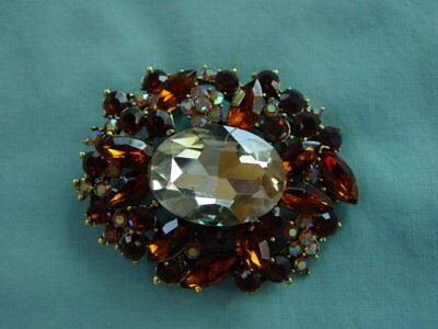 Vintage Clear & Brown Rhinestone Pin Brooch - Huge Clear Oval Stone Stunning