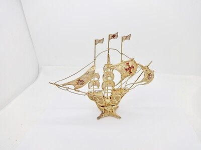 Vintage Gilt Sterling Silver Triple Mast Sailing Ship Model,enamel Red Flag