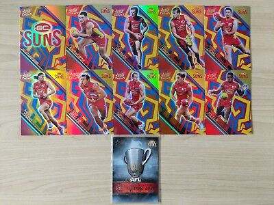 2018 AFL Select Legacy Gold Coast Suns Holographic X 10 + PP16