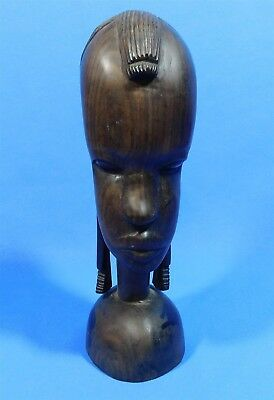 Vintage African Woman Head Sculpture Bust Hand Carved Ebony Wood Statue