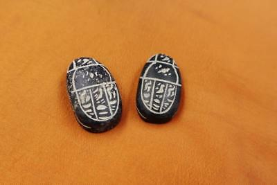 Rare Set of 2 Stone Ancient Egyptian Lucky Scarab beetle, Amulets & Plaques