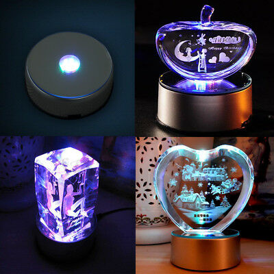 7 LED Round Colorful Rotating Crystal Light Base Electric Battery Display Stand