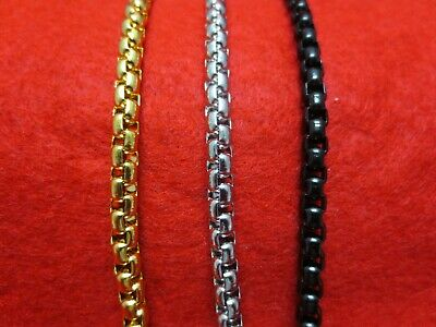 """7""""-60""""  Stainless Steel Gold,Silver,Black 5Mm Smooth Box Round Rope Chain"""
