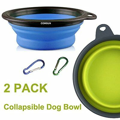 COMSUN 2-Pack Large Size Collapsible Dog Bowl, Food Grade Silicone BPA Free, Cup