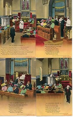 Bamforth Song Card * The Volunteer Organist* Wwi Religion* Set Of 4 * 4642 * X28