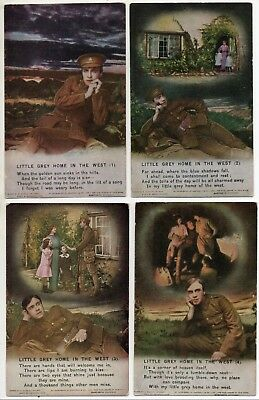 Bamforth * Little Grey Home In The West * Wwi Soldier* Set Of 4 * 4871 * X30