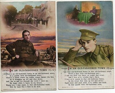 Bamforth * In An Old-Fashioned Town  * Wwi Soldier* Set Of 2 * 5016 * X33