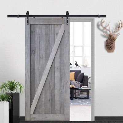 6.6ft Black Sliding Door Hardware Kit+Solid Barn Wooden Door Plank DIY Assembled