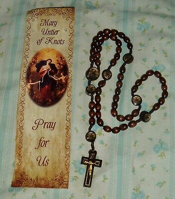 OUR LADY MARY UNDOER (UNTIER) OF KNOTS Wood 18in ROSARY w/bookmark Catholic