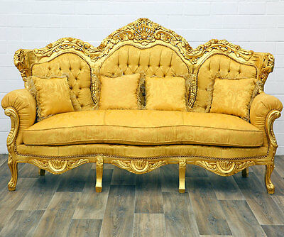 PARADISE of BAROCK großes 3-SITZER SOFA gold-gelb, COMFORT 3-SEATER BAROQUE SOFA
