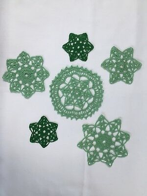 6 Handcrafted Crocheted Lacy Star Mats Or Christmas Decorations Or Coasters,