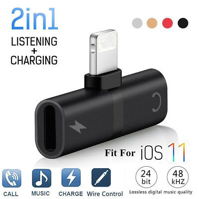 Hot Adapter For Apple iPhone X 7 8 Plus Splitter Audio Earphone AUX Charger Dual