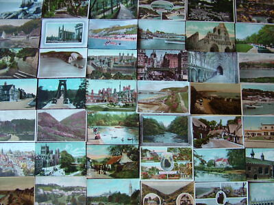 100 Very Old COLOURED UNITED KINGDOM Postcards. Standard size. 1900s - 1950s/60s