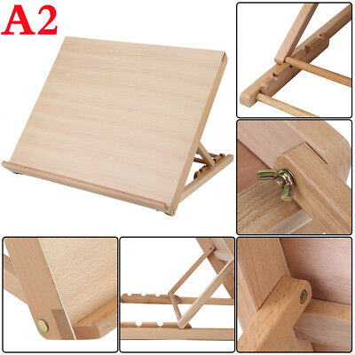 A2 Wooden Art Large Drawing Board Table Canvas Workstation Easel Kids/Adults